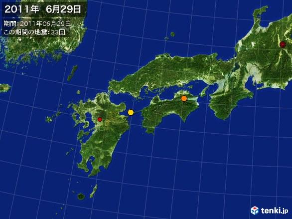 西日本・震央分布図(2011年06月29日)