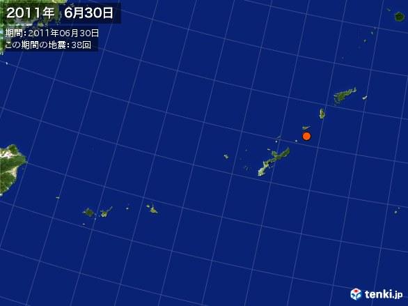 沖縄・震央分布図(2011年06月30日)