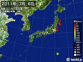 2011年07月06日の震央分布図