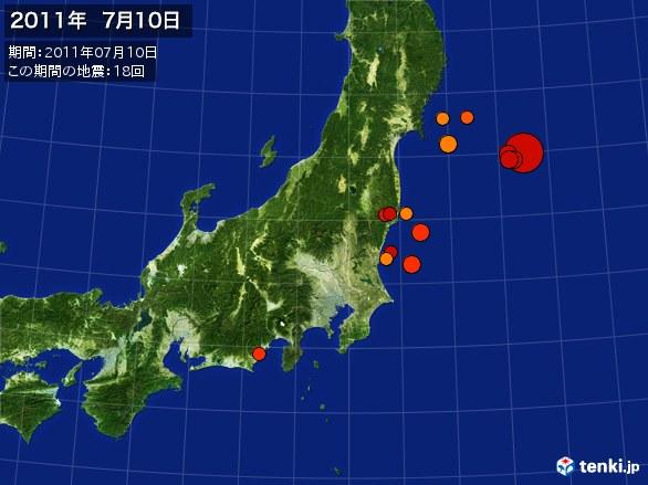 東日本・震央分布図(2011年07月10日)