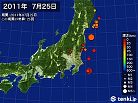 2011年07月25日の震央分布図
