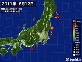 2011年08月12日の震央分布図