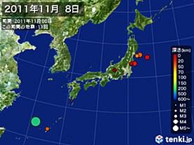 2011年11月08日の震央分布図