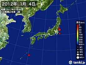 2012年01月04日の震央分布図