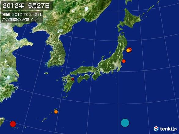 日本全体・震央分布図(2012年05月27日)