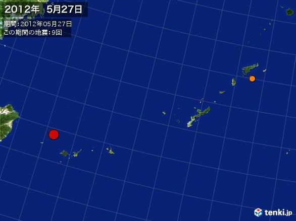 沖縄・震央分布図(2012年05月27日)