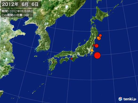日本全体・震央分布図(2012年06月06日)