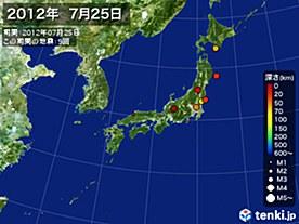 2012年07月25日の震央分布図