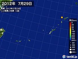 2012年07月29日の震央分布図