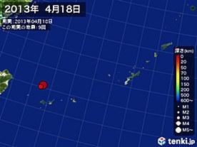 2013年04月18日の震央分布図