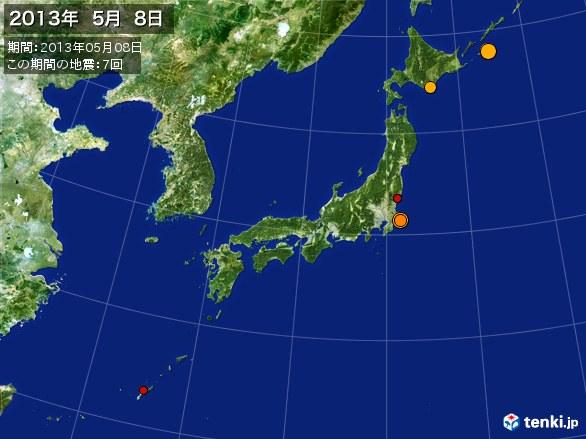 日本全体・震央分布図(2013年05月08日)