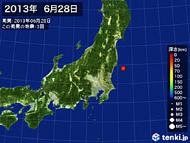 2013年06月28日の震央分布図