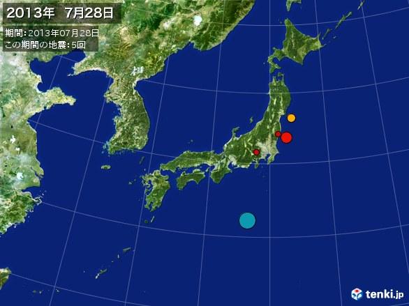 日本全体・震央分布図(2013年07月28日)