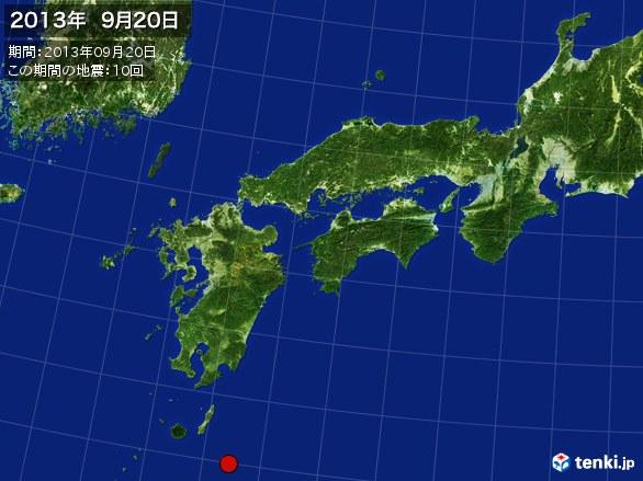 西日本・震央分布図(2013年09月20日)