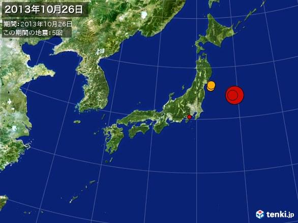 日本全体・震央分布図(2013年10月26日)