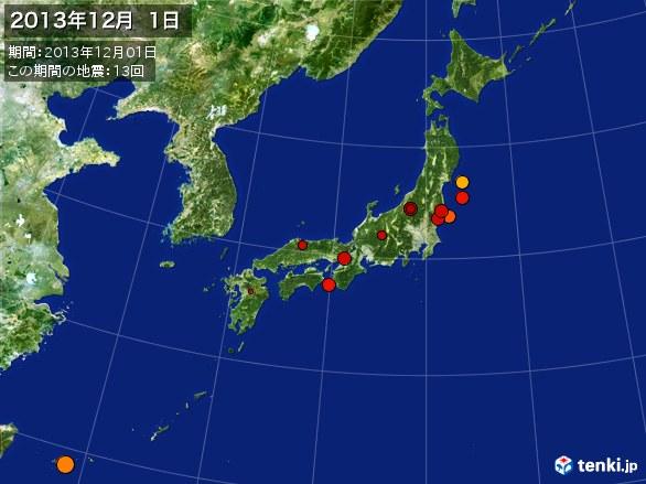 日本全体・震央分布図(2013年12月01日)