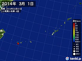 2014年03月01日の震央分布図