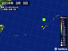 2014年03月03日の震央分布図