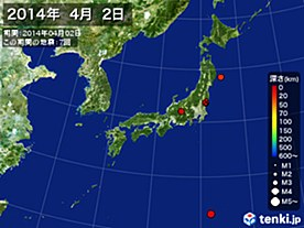 2014年04月02日の震央分布図