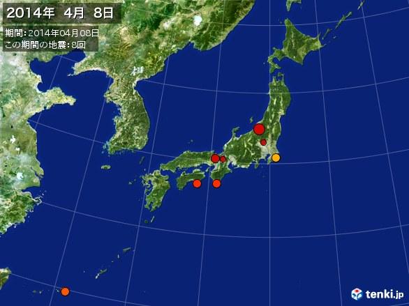 日本全体・震央分布図(2014年04月08日)
