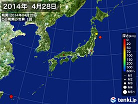 2014年04月28日の震央分布図