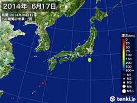 2014年06月17日の震央分布図