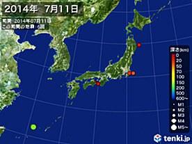 2014年07月11日の震央分布図