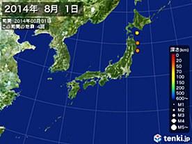 2014年08月01日の震央分布図