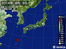 2014年08月03日の震央分布図