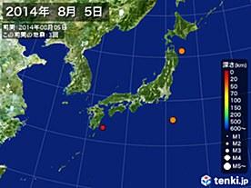 2014年08月05日の震央分布図