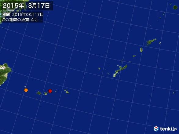沖縄・震央分布図(2015年03月17日)