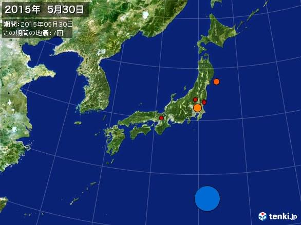 日本全体・震央分布図(2015年05月30日)
