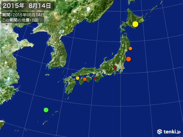 日本全体・震央分布図(2015年08月14日)