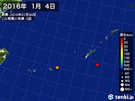 2016年01月04日の震央分布図