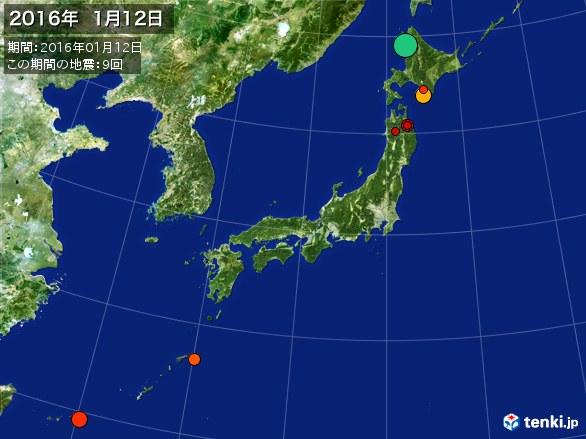 日本全体・震央分布図(2016年01月12日)