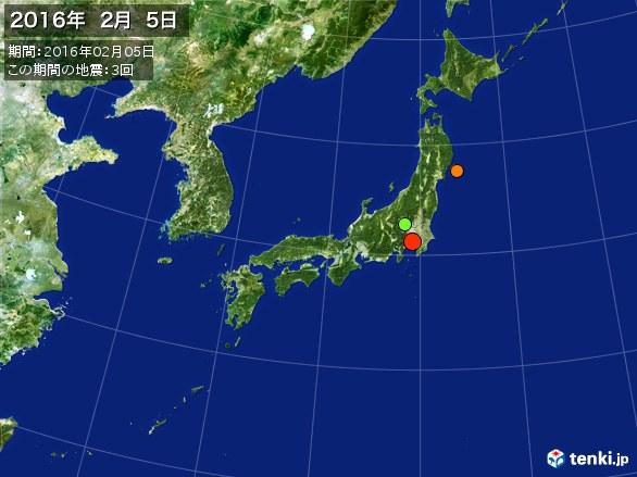 日本全体・震央分布図(2016年02月05日)