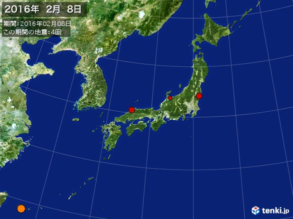 日本全体・震央分布図(2016年02月08日)