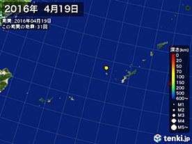 2016年04月19日の震央分布図