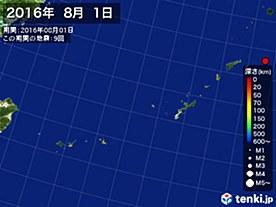 2016年08月01日の震央分布図
