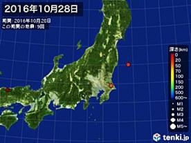 2016年10月28日の震央分布図