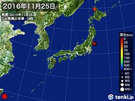 2016年11月25日の震央分布図