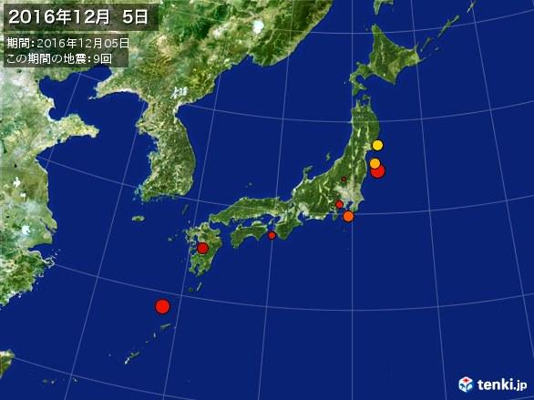 日本全体・震央分布図(2016年12月05日)