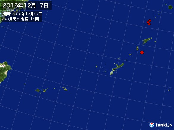 沖縄・震央分布図(2016年12月07日)