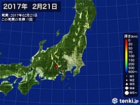2017年02月21日の震央分布図
