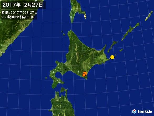 北日本・震央分布図(2017年02月27日)
