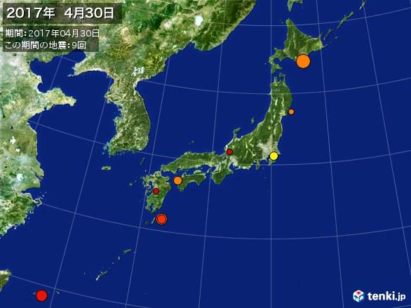 日本全体・震央分布図(2017年04月30日)