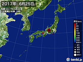 2017年06月25日の震央分布図