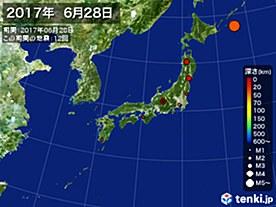 2017年06月28日の震央分布図