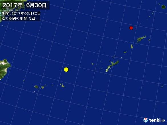 沖縄・震央分布図(2017年06月30日)