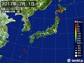 2017年07月01日の震央分布図